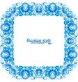 Blue floral vintage frame in gzhel style vector image