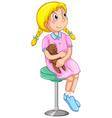 Little with teddy bear on stool vector image vector image