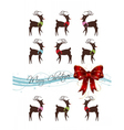 merry christmas card with deer pattern vector image