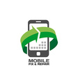 Mobile devices service and repair logo template vector image