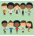 Multiracial school boys and girls vector image