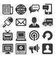 news media icons set on white background vector image