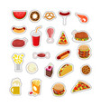 food sticker set signs meat feed icon collection vector image