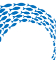 Shoal of blue fishes on white vector image