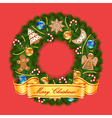Christmas wreath on red background vector image vector image