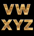 Gold Letters Set V-Z vector image vector image