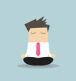 Businessman yoga relaxing during hard workday vector image