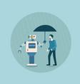 modern robot holding umbrella over business man vector image