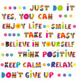 motivational slogans with funny hand drawn vector image