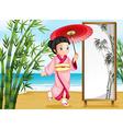 A girl in a kimono attire vector image