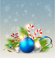Christmas background with blue decoration vector image vector image