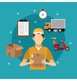 delivery service man carton box concept vector image