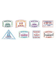 passport stamps of busy airports vector image