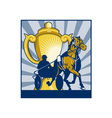 Harness horse race racing championship cup vector image
