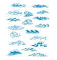 Ocean or sea waves surf and splashes set vector image