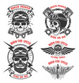 born for speed set of the emblems with racer vector image