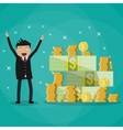 businessman standing near huge pile of money vector image