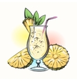 Pina colada tropical cocktail vector image