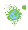 green eco globe vector image