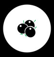 Berries fruit simple black and green icon eps10 vector image