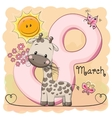Giraffe with flowers vector image