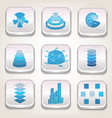 blue charts icon set vector image