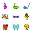 golf car icons set cartoon style vector image