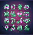 halloween neon icons vector image