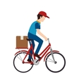 bike delivery man box vector image