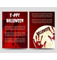 Halloween flyer template with bloody handprints vector image