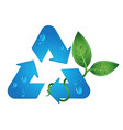 recycling symbol and green leaves vector image