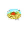Red farmhouse in the field flat vector image
