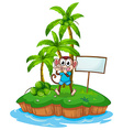 A happy monkey in the island with an empty vector image vector image