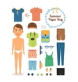 Paper doll boy in summer clothes and shoes vector image
