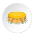 A stack of pancakes with honey icon cartoon style vector image