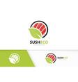 sushi and leaf logo combination japanese vector image