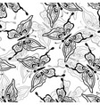 seamless pattern butterflies contours vector image vector image