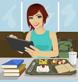 student girl using tablet in fast food restaurant vector image