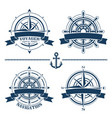 set of vintage nautical design elements vector image