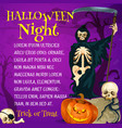 halloween trick or treat poster with grim reaper vector image vector image