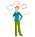 Boy with speech bubbles around vector