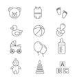 Baby toys and care thin line icons vector image