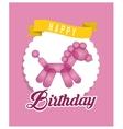 balloon horse ribbon happy birthday card pink vector image