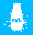 bottle of milk splashes and blot white vector image