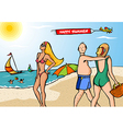 Funny scene at the beach vector image