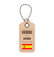 hang tag made in spain with flag icon isolated on vector image