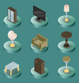 interior color isometric icons vector image