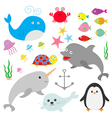 Sea ocean animal fauna set Fish whaledolphin vector image