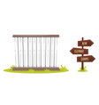 zoo cage with wooden signpost vector image