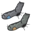 Old pair of holed socks with patches vector image